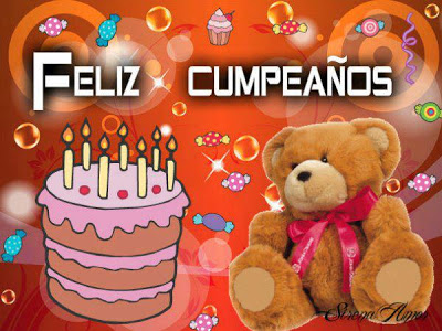 feliz cumpleaños osito y tarta