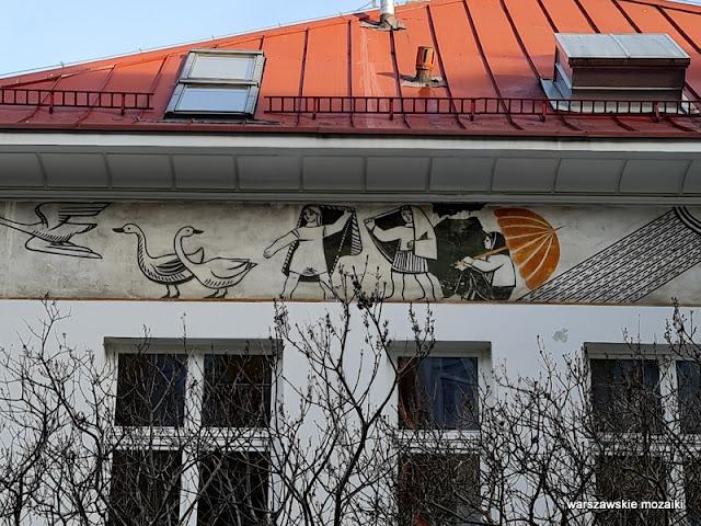 fryz sgraffito Warszawa Warsaw Nowe Miasto architektura przedszkole sto pociech Zofia Czarnocka Kowalska Zbigniew Brodowski Mirosława Karpińska