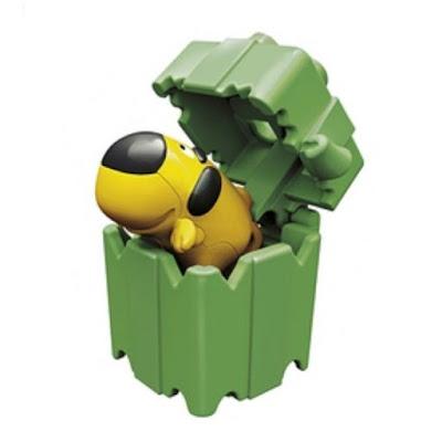 Желтая собачка Киндер сюрприз в зеленой коробке