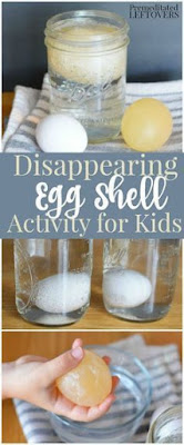 Spring science ideas on Classroom Tested Resources.  Disappearing egg shell science.