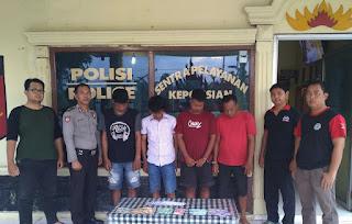 Asyik Bermain Judi, Empat Warga Tri Tunggal Jaya Ditangkap Polsek Banjar Agung