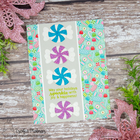 Sparkly Peppermint Card by Zsofia Molnar | Peppermint Die Set and Sentiments of the Season Stamp Set by Newton's Nook Designs #newtonsnook #handmade