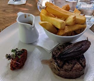 Steak and chips at Kilkea Castle in South Kildare Ireland