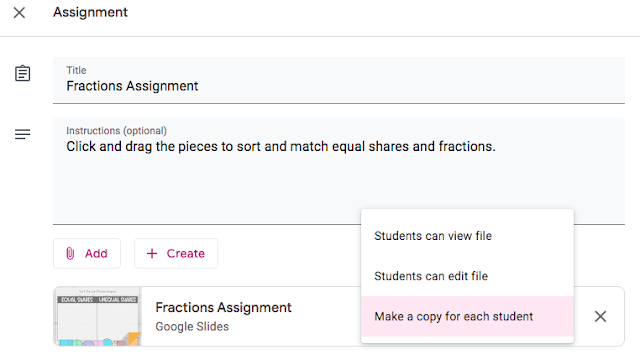 select 'make a copy' for each student when assigning work in google classroom