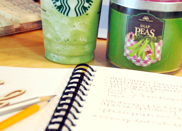 Greem tea frappaccino, Snap Pea candle and journal