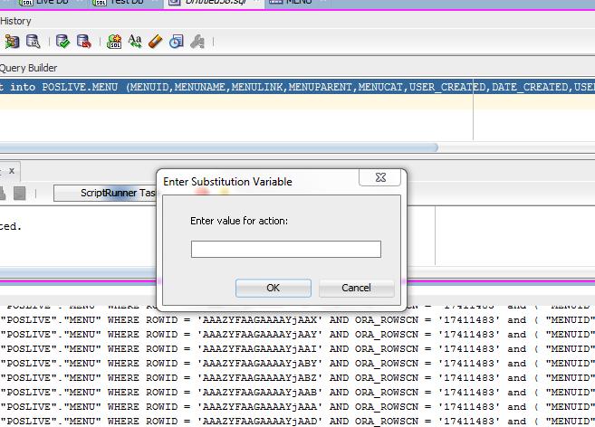 Oracle SQL Developer 'Enter value for action:'