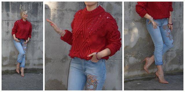 outfit maglione rosso jeans ricamati come abbinare un maglione rosso come abbinare i jeans ricamati outfit marzo 2017 outfit primaverili marzo 2017 outfit mariafelicia magno colorblock by felym fashion blog italiani fashion blogger italiane blogger italiane di moda