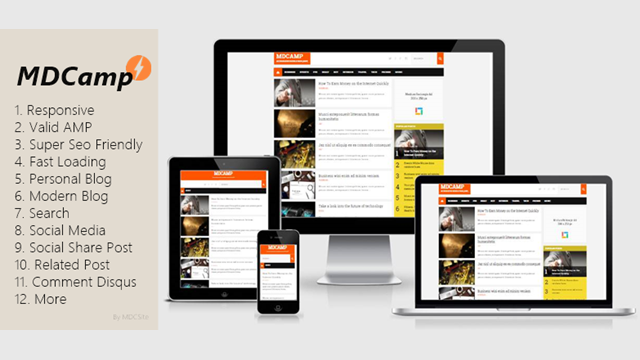 MDCamp AMP HTML Blogger Template