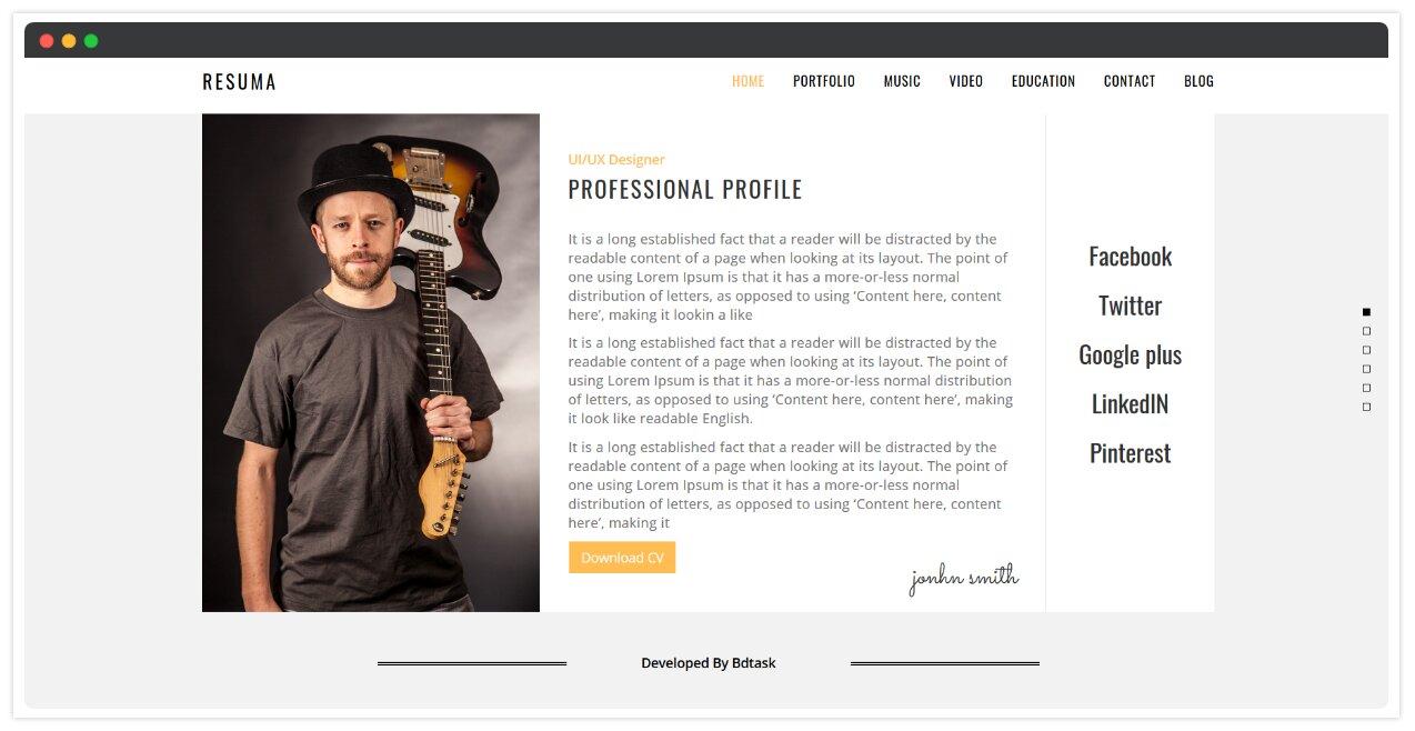 Resuma - Resume Portfolio Responsive WordPress Theme