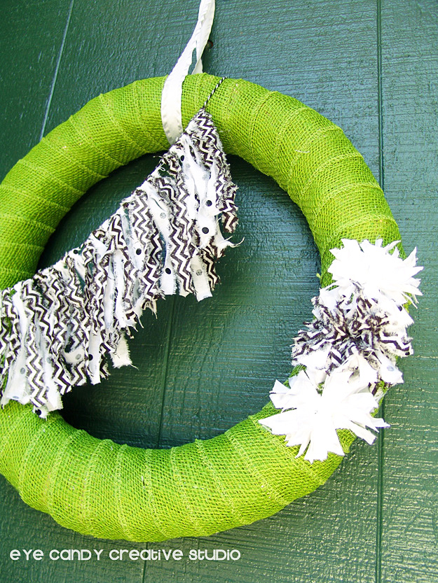 fall wreath with fabric bunting & pom flowers, how to make a fall wreath