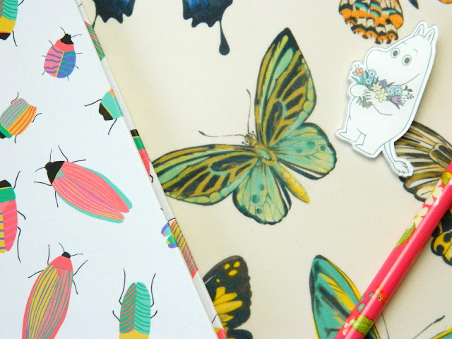 A photo showing two notebooks with insect designs on the covers, a floral pen and a Moomin pin badge