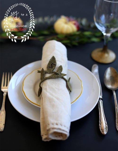 Cincin serbet bentuk daun terbuat dari kain felt