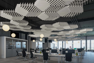 Benefits of acoustic solutions for office interior - ceiling & floor.