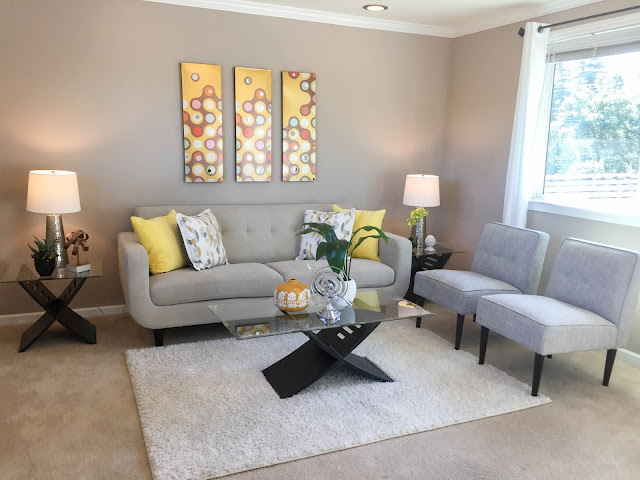 Yellow modern living room | sprinkledwithcolor.com
