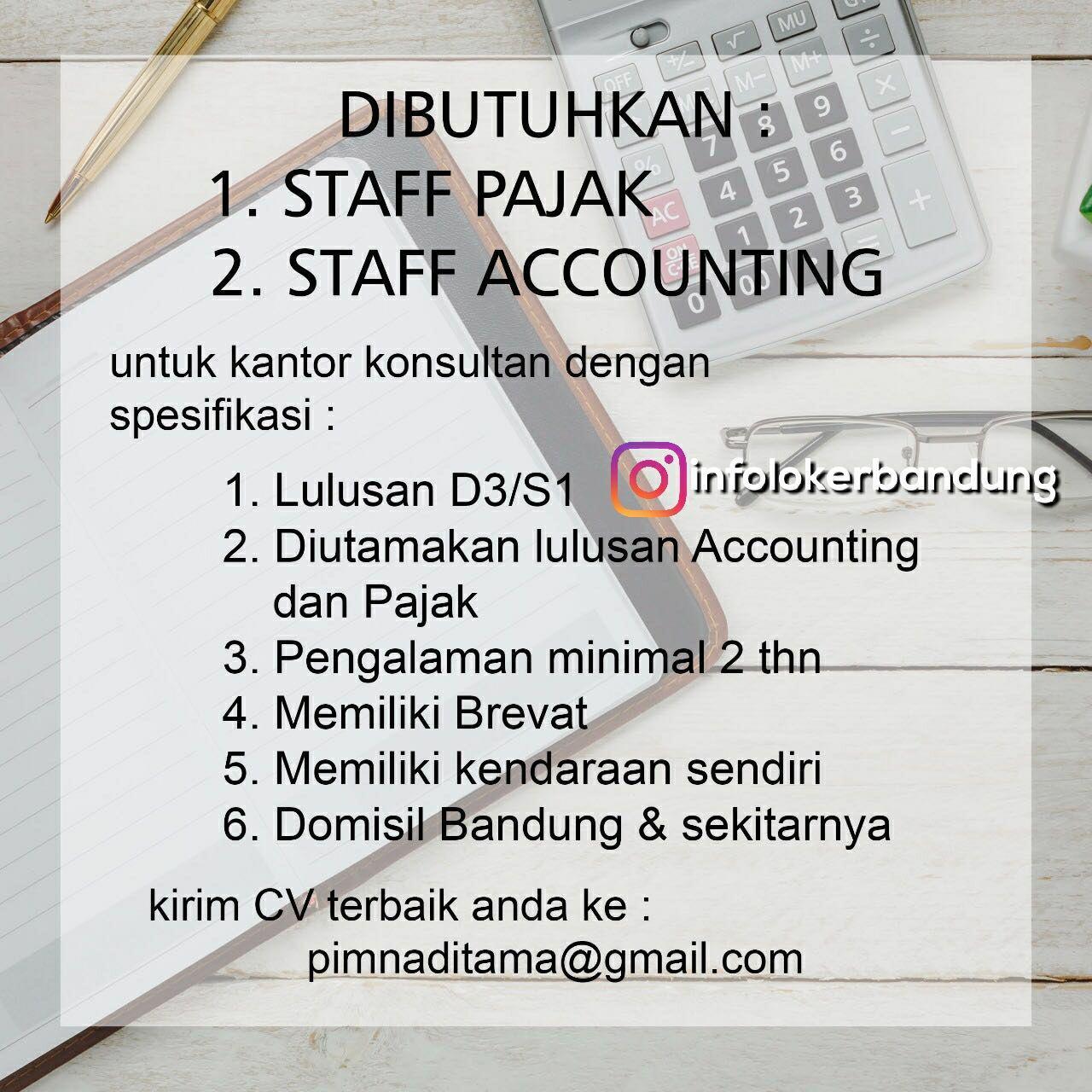 Lowongan Kerja Staff Pajak & Staff Accounting Bandung Februari 2018