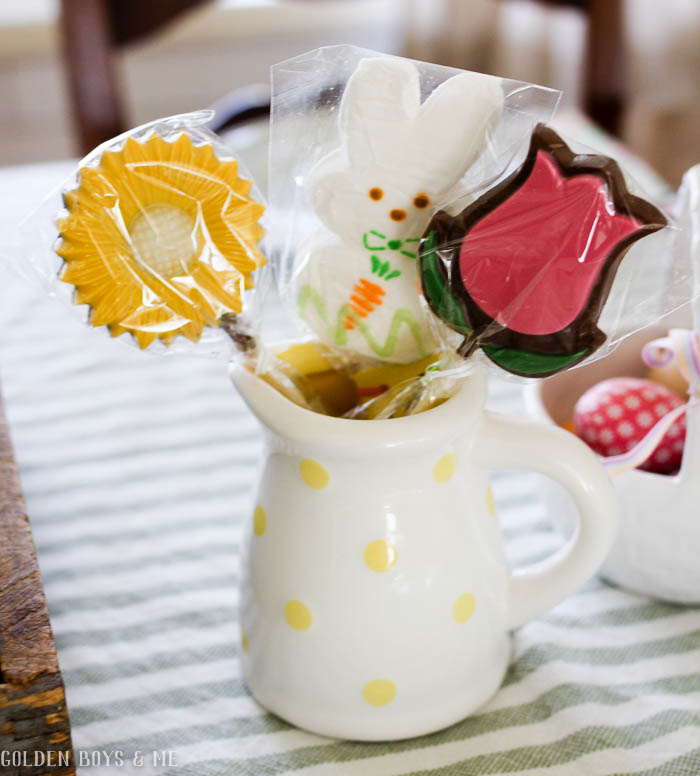 Spring decor with flower lollipops chocolate bouquet