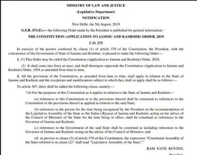 Article 370 repealed and partition of Jammu and Kashmir