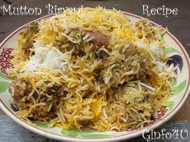 mutton biryani recipe-how to make indian mutton biryani recipe at home by Ginfo4u