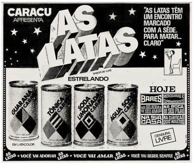 Propaganda da linha de Refrigerantes da Caracu no começo dos anos 70