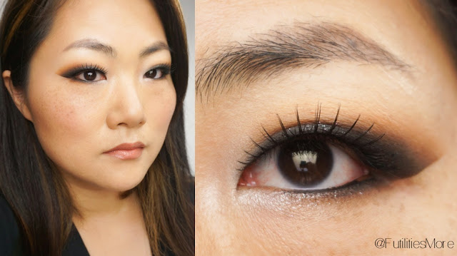 Smokey look using Makeup Geek eyeshadows and glitters for asian monolid eyes