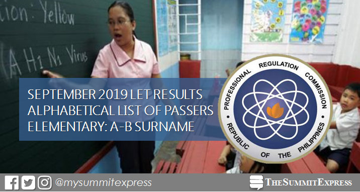 A-B Passers Elementary: September 2019 LET Result