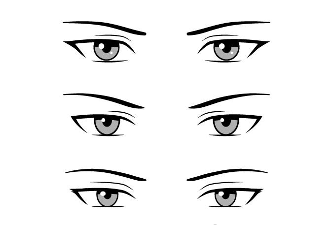 Contoh mata anime pria gaya serius