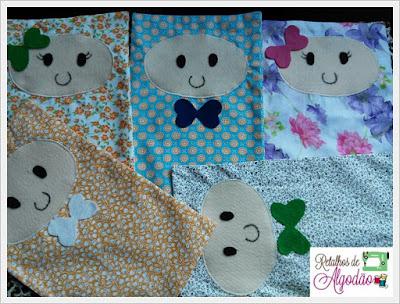 Naninhas de tecido para serem doadas para as crianças do INCA