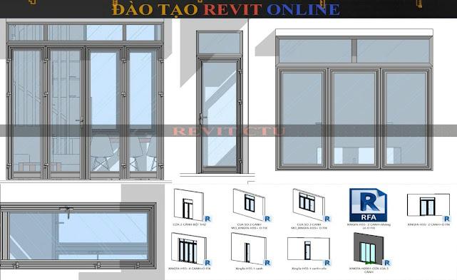 Thư viện Revit các loại cửa sổ nhôm
