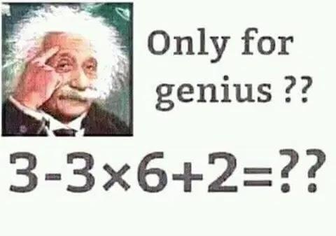 Valdivino Sousa: A Equação que quase todos erram, 3-3 x 6 + 2 =?  Esta equação matemática, ou sentença matemática quase todos erram, pelo simples fato de não saber as regras básica de Matemática. Sabemos que para dominar a ciência Matemática, precisamos obedecer fórmulas e regras.