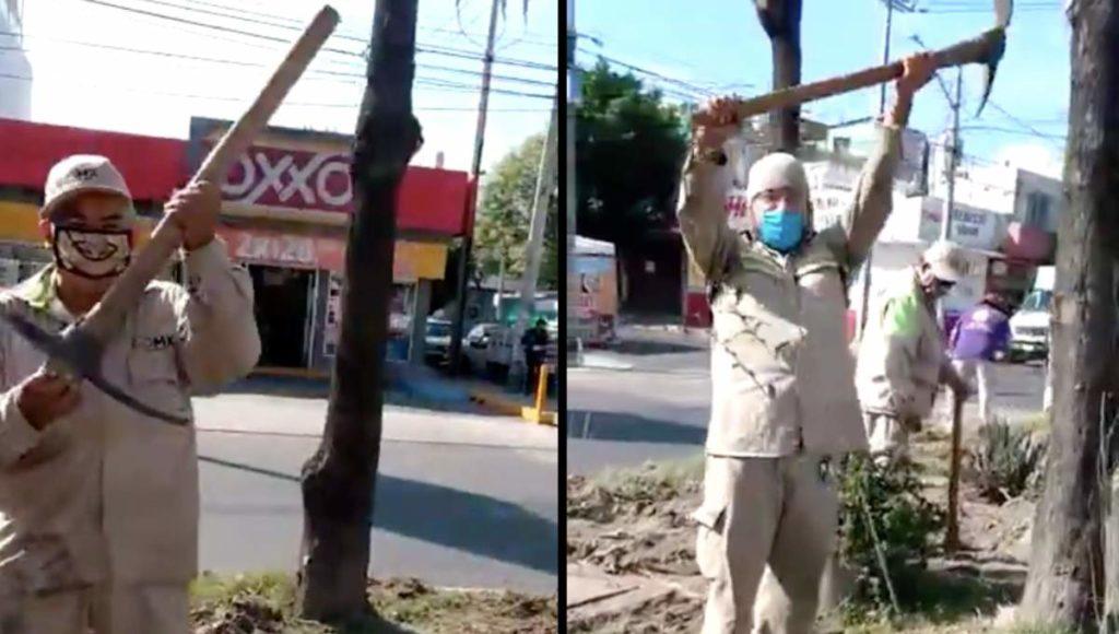 """Vídeo: Trabajadores de la CDMX parodian video del Grupo Elite del CJNG, """"Pura gente del Mencho"""", gritan agitando picos y palas"""
