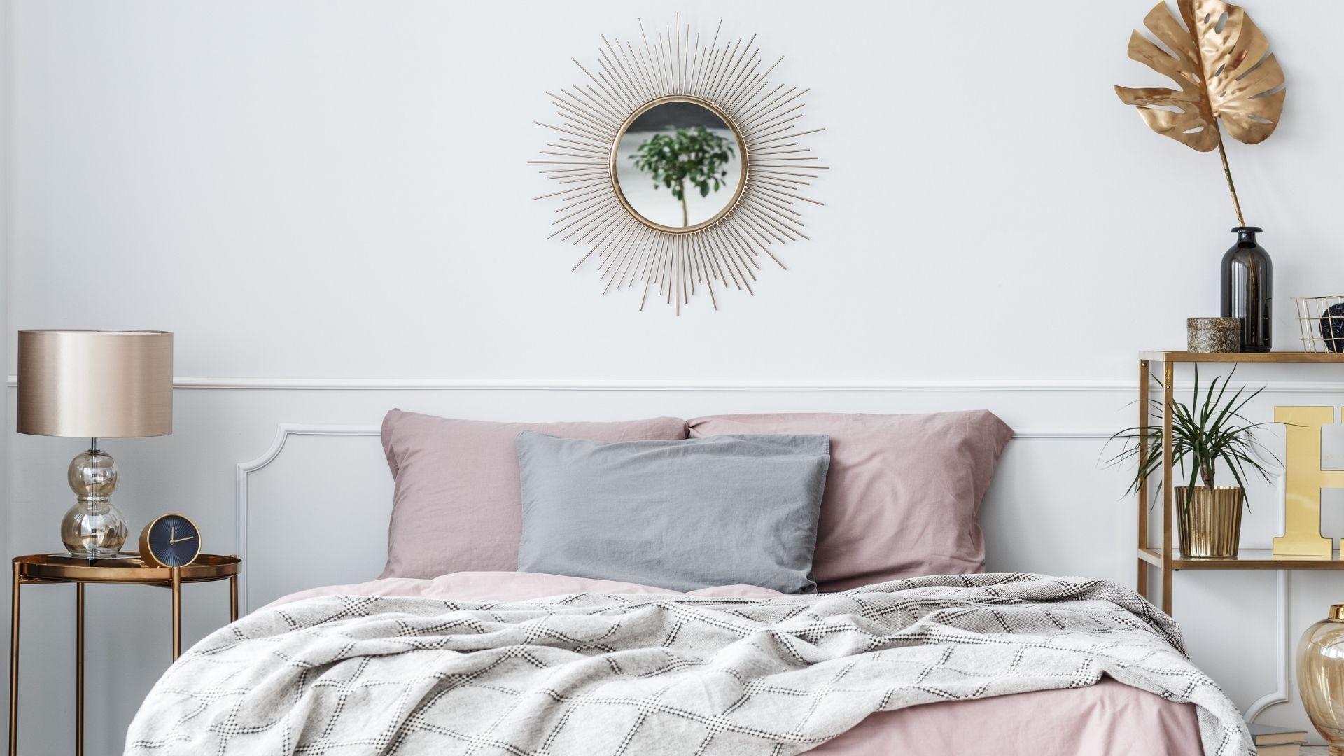 złota sypialnia glamour