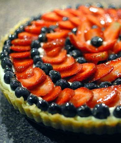 Strawberry & Blackberry Fruit Tart. So easy and quick. Just 3 ingredients and the fruit topping.