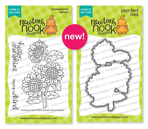 Sunflower Day Stamp Set and Die Set by Newton's Nook Designs #newtonsnook