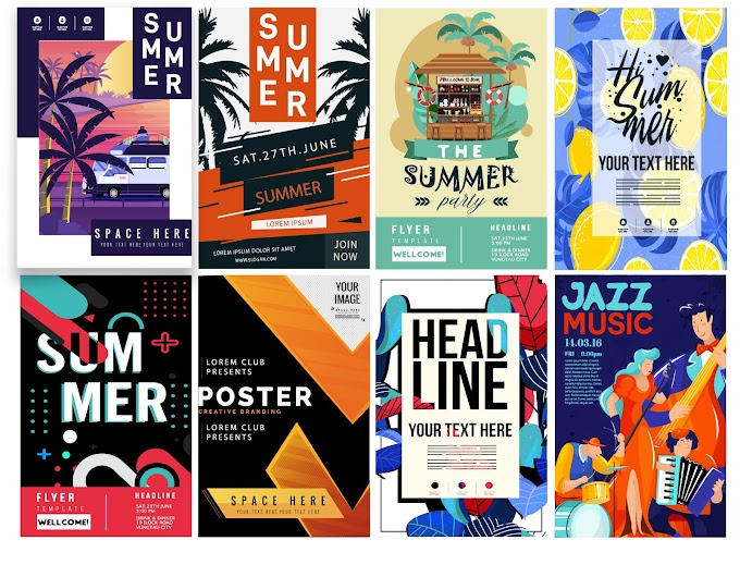 Poster flyer templates colorful classical modern design Free vector