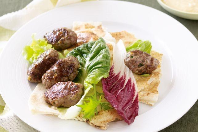 Lamb kofta with Lebanese bread and hommus