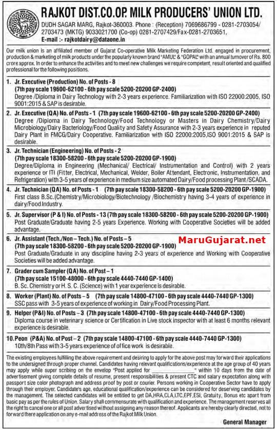 Rajkot District Co-Operative Milk Producers' Union Ltd Recruitment for 41 Various Posts 2020