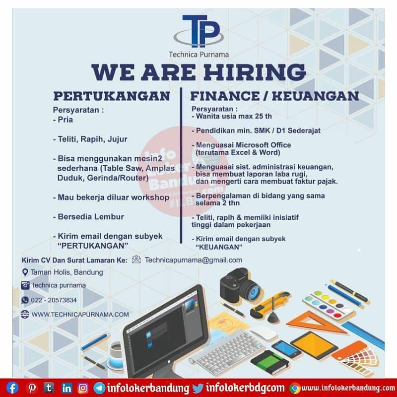 Lowongan Kerja Technica Purnama Bandung Juni 2021