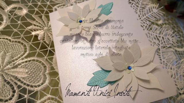 abb Cover libretto messa a tema Stelle di Natale... realizzate per Nicholas e ChiaraColore Bianco cover libretti Nozze d'Inverno Partecipazioni con pietre