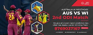 AUS vs WI Correct ODI 2nd Match 100% Sure Today Match Prediction Tips