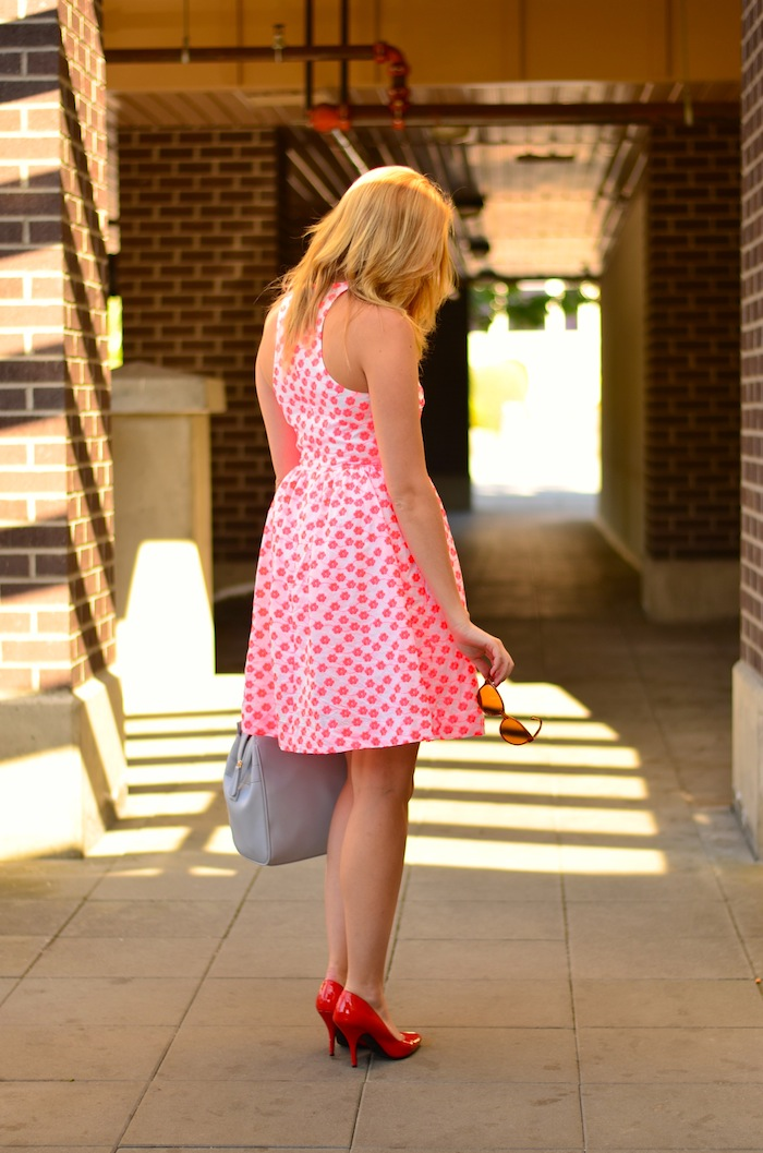 Pink Embroidered floral racer dress J Crew