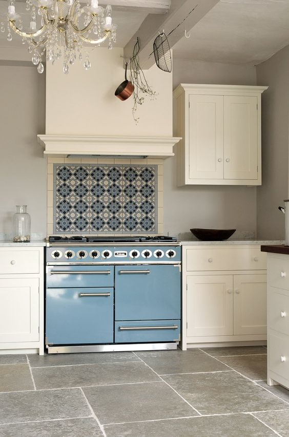 Handmade blue and white tiles over blue range in white kitchen. Blue and White Kitchen Decor Inspiration { 40 Home Decor Ideas to PIN}