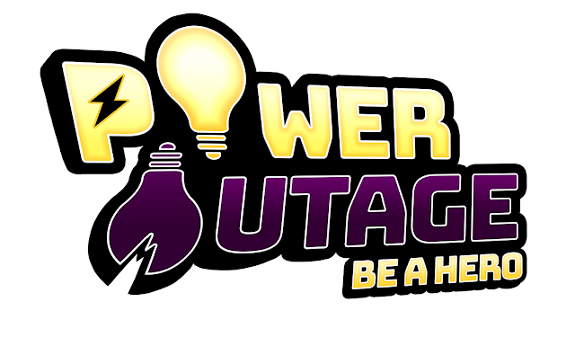 "The words ""Power Outage: Be a Hero"" in yellow and purple. The O's in Power Outage are lightbulbs, one of which is broken. In the P, the hollow space is a lightning bolt."