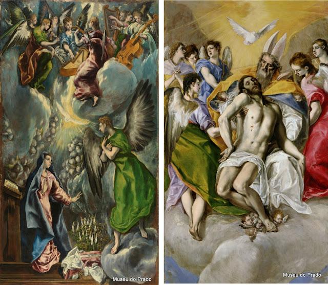 Obras de El Greco, A Anunciação e A Trindade, no Museu do Prado