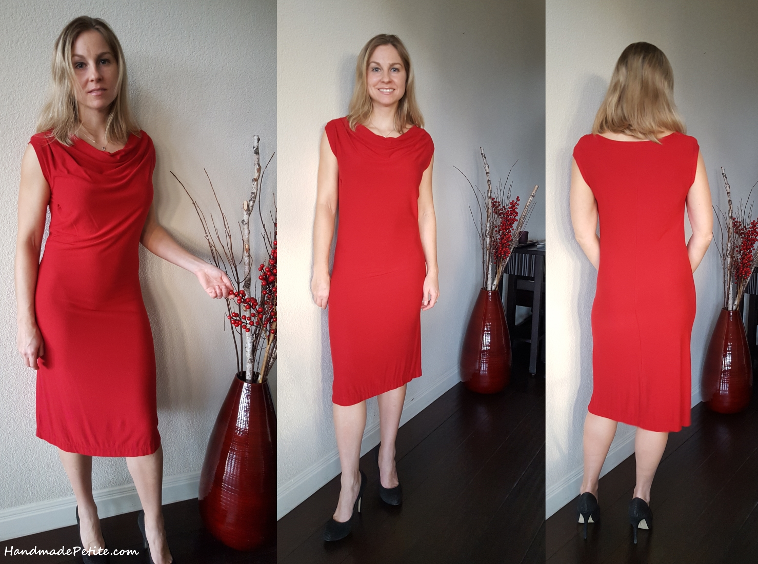 Sewing red dress with cowl neck using Simplicity 1716 pattern in red rayon jersey knit