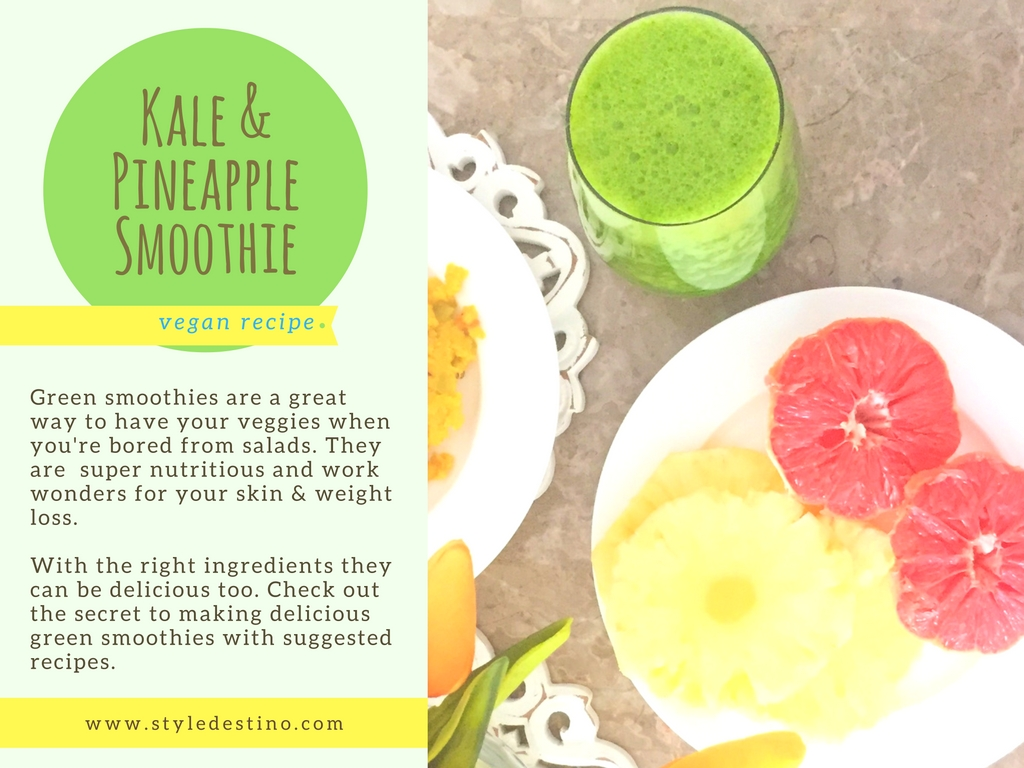 Kale and Pineapple Smoothie | Delicious Green Smoothie Recipes