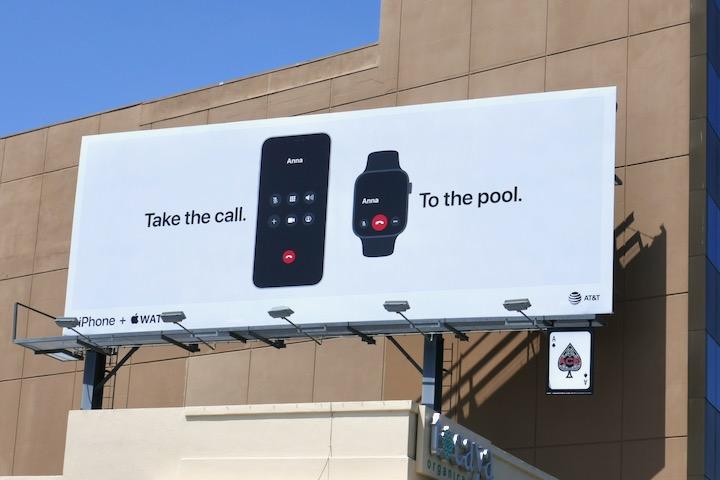 Take \ call To pool Apple iPhone Watch billboard