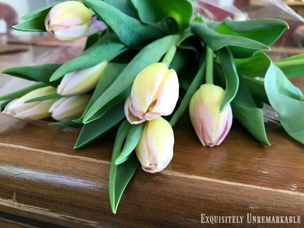 Country Tulip bouquet on a wooden table