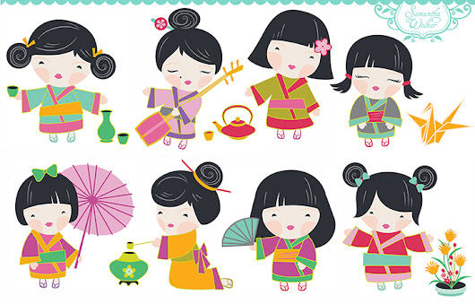 Samantha Walker's Imaginary World: New this week! Kokeshi Dolls: printables, Digi-Stamps, and cutting files