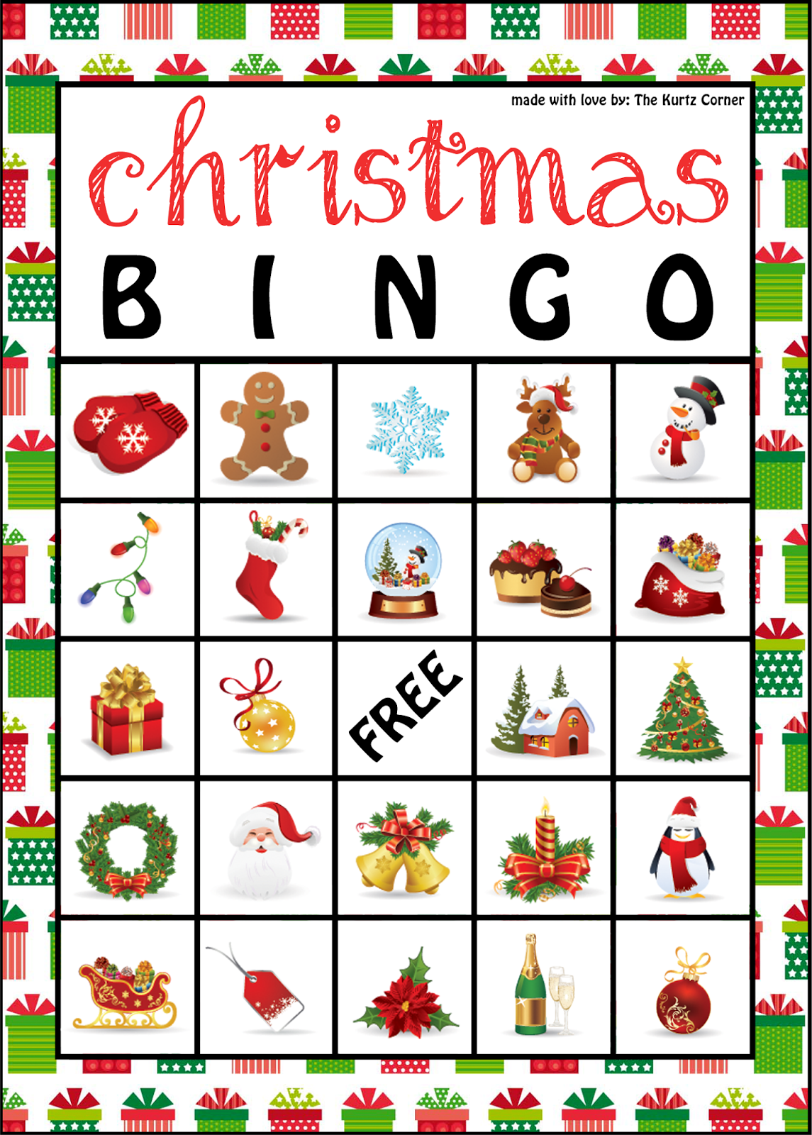 The Kurtz Corner Free Printable Christmas Bingo Cards