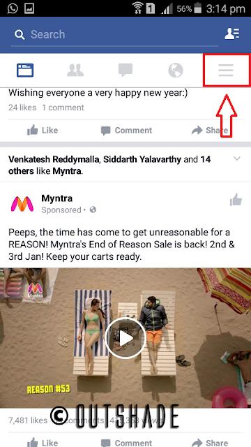 Navigation to Facebook Menu